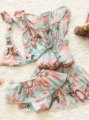 Girls Aqua Floral Skirted Bikini With Matching Cover Up - Girls Two Piece Swimsuit