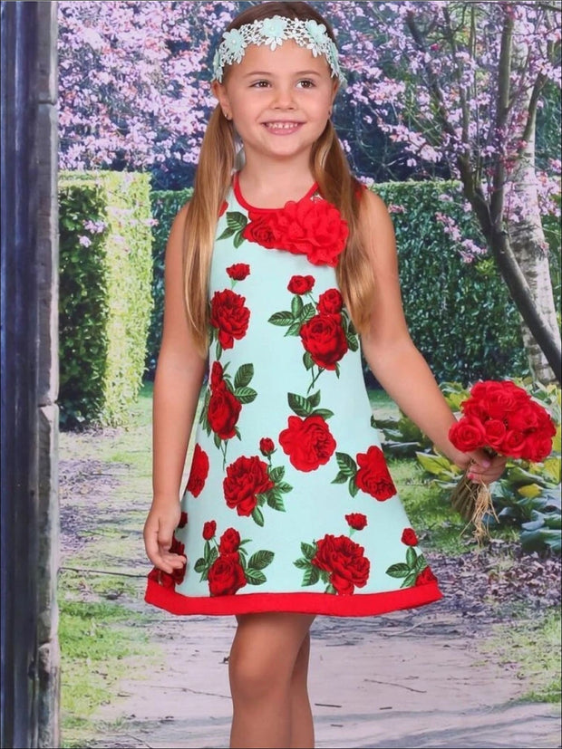 Girls Aqua & Red Spring Floral A-Line Dress - 2T/3T / Aqua/Red - Girls Spring Casual Dress