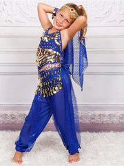 Girls Arabian Genie Halloween Costume - Blue / 3T - Girls Halloween Costume