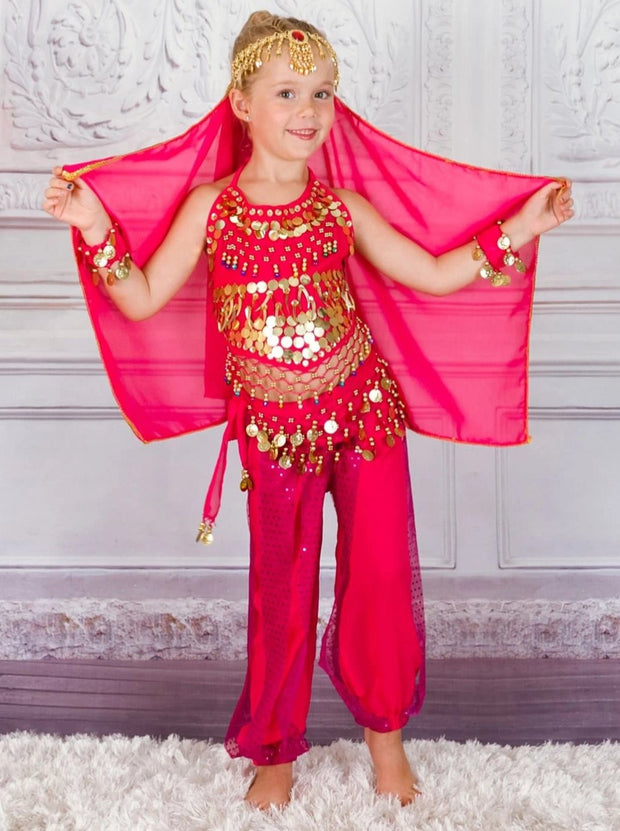 Girls Arabian Genie Halloween Costume - Hot Pink / 3T - Girls Halloween Costume