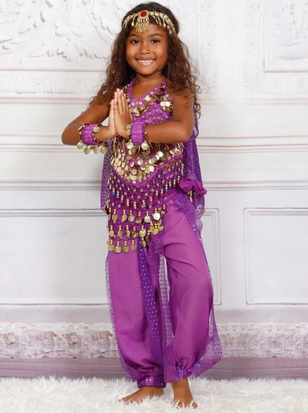 Girls Arabian Genie Halloween Costume - Purple / 3T - Girls Halloween Costume