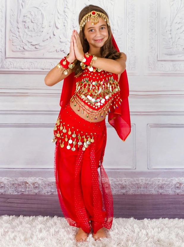 Girls Arabian Genie Halloween Costume - Red / 3T - Girls Halloween Costume