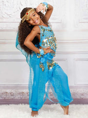 Girls Arabian Genie Halloween Costume - Sky Blue / 3T - Girls Halloween Costume