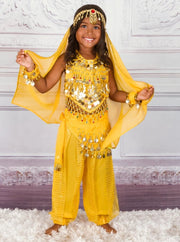 Girls Arabian Genie Halloween Costume - Yellow / 3T - Girls Halloween Costume