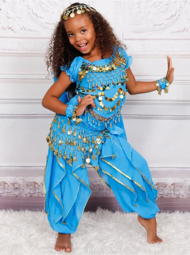 Girls Arabian Princess Genie Halloween Costume - Light Blue / 3T - Girls Halloween Costume