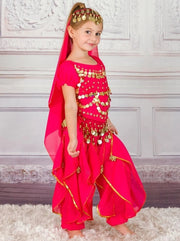 Girls Arabian Princess Genie Halloween Costume - Pink / 3T - Girls Halloween Costume