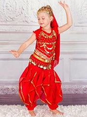 Girls Arabian Princess Genie Halloween Costume - Red / 3T - Girls Halloween Costume