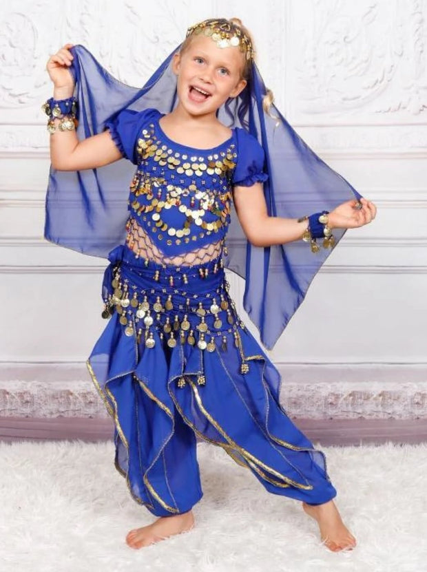Girls Arabian Princess Genie Halloween Costume - Royal Blue / 3T - Girls Halloween Costume