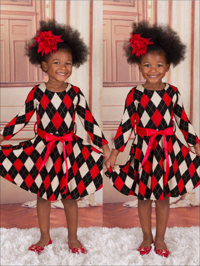 Girls Argyle Sparkle Dress w/ Flower Belt - 3T / Red/Black/White - Girls Fall Dressy Dress