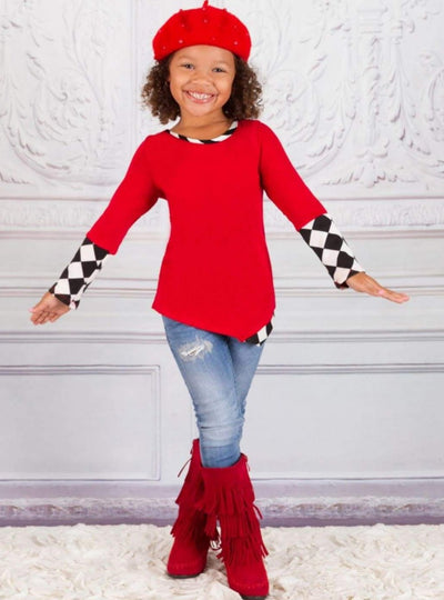 Girls Asymmetric Long Cuffed Sleeve Harlequin Print Tunic - Girls Fall Top
