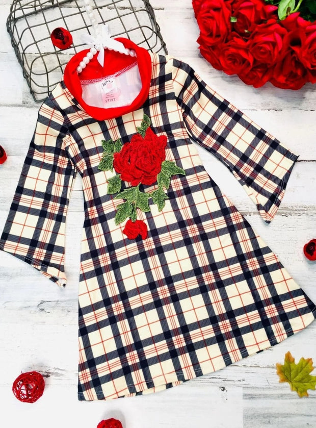 Girls Asymmetric Sleeve Turtle Neck Dress - Beige / 2T/3T - Girls Fall Casual Dress