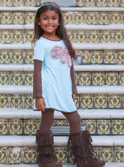 Girls Baby Blue Tunic with Dotted Bow Applique - Girls Fall Top