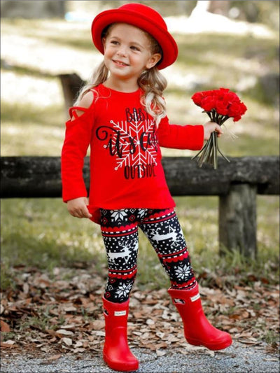 Girls Baby its Cold Outside Cold Shoulder Long Sleeve Top & Reindeer Print Leggings Set - Girls Fall Casual Set