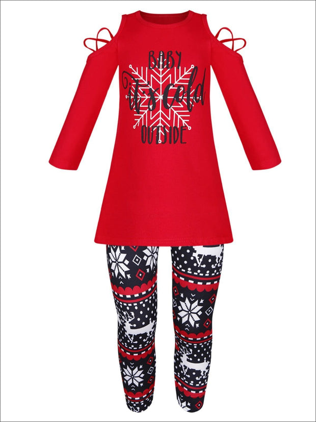 Girls Baby its Cold Outside Cold Shoulder Long Sleeve Top & Reindeer Print Leggings Set - Red & Black / 2T - Girls Fall Casual Set