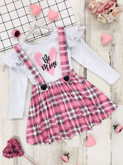 Girls Be Mine Ruffled Top and Plaid Overall Dress - Girls Fall Casual Set