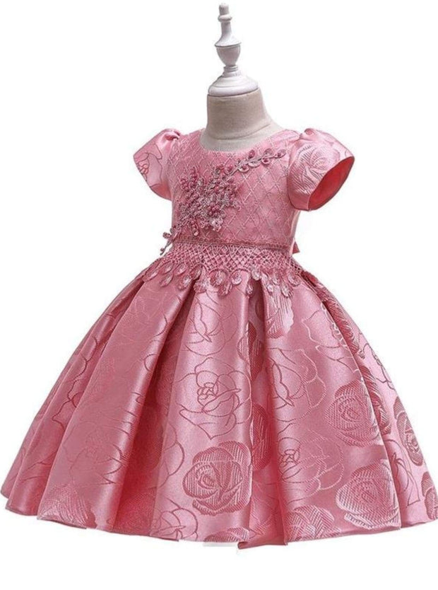Girls Beaded Floral Applique Brocade Holiday Dress - Girls Fall Dressy Dress
