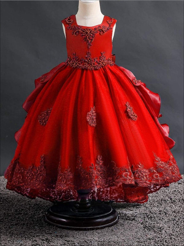Girls Beaded Lace Applique Ruffled Holiday Dress - 2T / Red - Girls Fall Dressy Dress