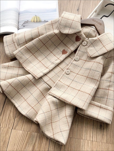 Girls Beige A-Line Plaid Dress & Matching Flat Collar Coat With Heart Detail Set - Beige / 5Y - Girls Fall Dressy Set