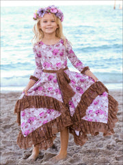 Girls Beige & Floral Handkerchief Dress with Lace Ruffle - Girls Fall Dressy Dress