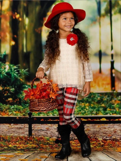 Girls Beige Lace Long Sleeve Hi-Lo Tunic & Plaid Leggings Set - Girls Fall Casual Set