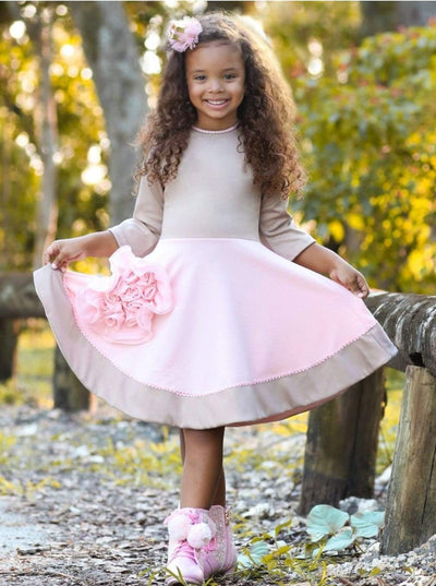 Girls Beige & Peach Circular Skirt 3/4 Sleeve Dress - Girls Fall Dressy Dress