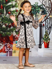 Girls Bell Sleeve Cross Over Bow Present Dress - Girls Fall Dressy Dress