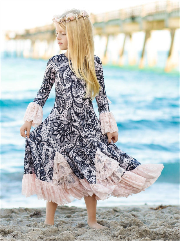 Girls Bell Sleeve Insert Ruffled Dress - Girls Fall Dressy Dress