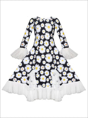 Girls Bell Sleeve Insert Ruffled Dress - Black / 2T-3T - Girls Fall Dressy Dress
