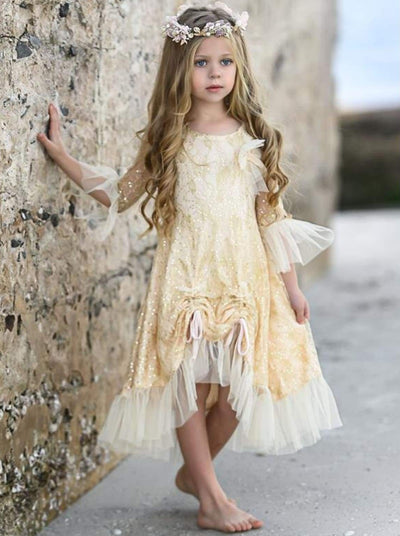Girls Bell Sleeve Lace Hi-Lo Drawstring Ruffled Dress - Girls Fall Dressy Dress