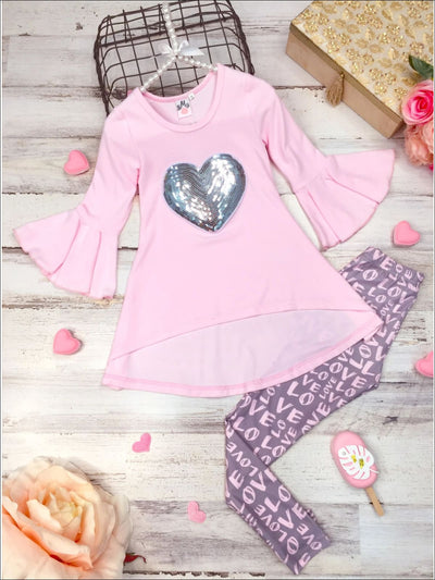 Girls Bell Sleeve Sequin Heart Hi-Lo Tunic and Love Leggings Set - Pink / 2T/3T - Girls Fall Casual Set