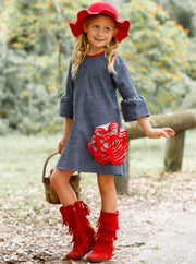 Girls Bell Sleeve Side Ruffled Flower Dress - Girls Fall Casual Dress