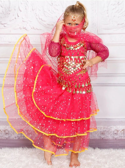 Girls Belly Dancer Halloween Costume - Hot Pink / 6 - Girls Halloween Costume