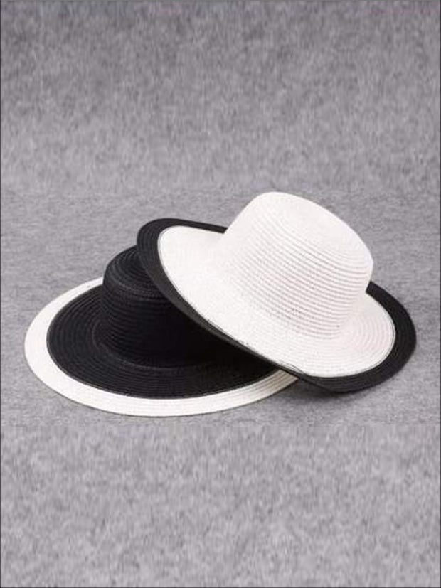 Girls Black and White Straw Hat - Hats & Caps