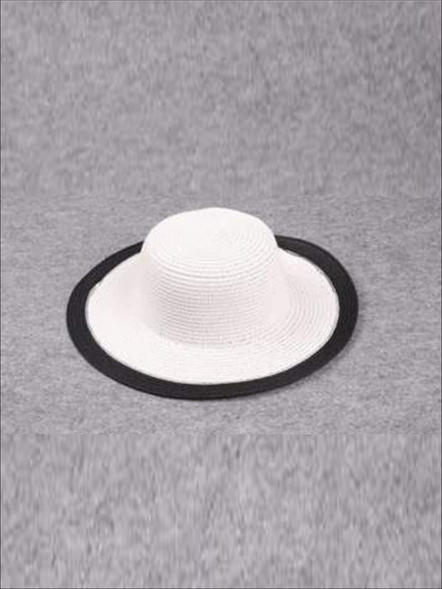 Girls Black and White Straw Hat - White / One - Hats & Caps