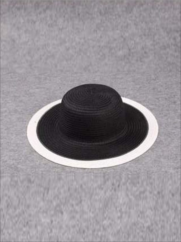 Girls Black and White Straw Hat - Black / One - Hats & Caps