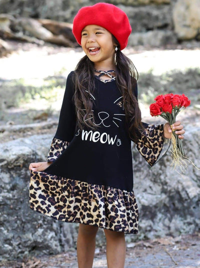 Girls Black Animal Print Meow Kitty Long Sleeve Ruffled Cross Front Dress - Girls Fall Casual Dress