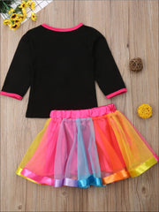 Girls Black Best Friends Twinning Rainbow Print Long Sleeve Top & Tutu Skirt Set - Girls Fall Casual Set