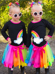 Girls Black Best Friends Twinning Rainbow Print Long Sleeve Top & Tutu Skirt Set - Left Rainbow / 2T - Girls Fall Casual Set