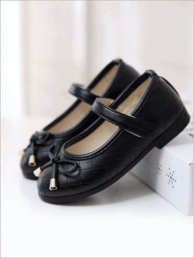 Girls Black Bow Flats Shoes - Girls Flats