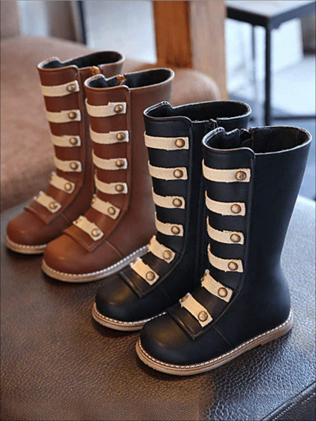 Girls Black & Brown Military Style Boots - Girls Boots