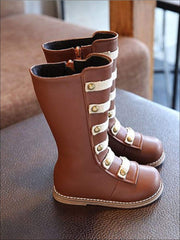 Girls Black & Brown Military Style Boots - brown / 6.5 - Girls Boots