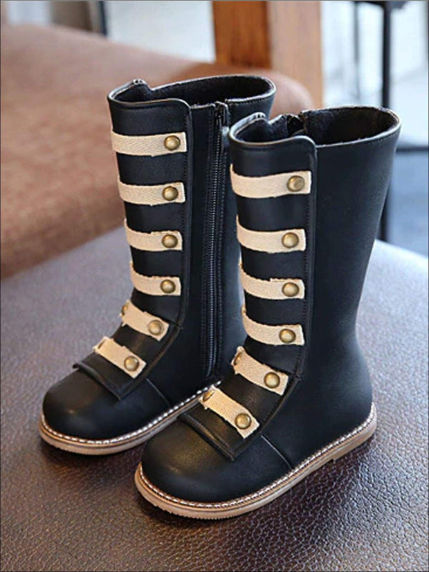 Girls Black & Brown Military Style Boots - black / 6.5 - Girls Boots