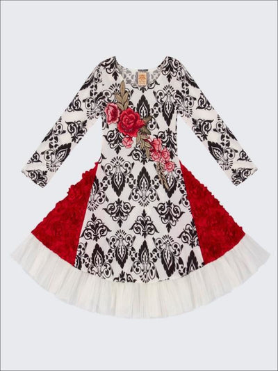 Girls Black & Creme Twirl Dress with Rosette Side Panels & Crochet Rose Applique - Girls Fall Dress