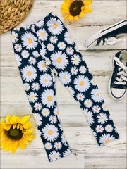 Girls Black Daisy Print Elastic Waist Leggings - 2T/3T / Black - Girls Leggings