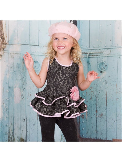 Girls Black Embossed Lace Sleeveless Double Peplum Top w/ Flower Clip - Girls Peplum Tunic