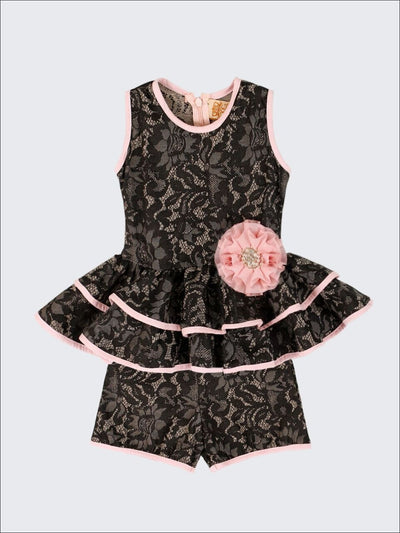 Girls Black Embossed Lace Sleeveless Double Peplum Top with Flower Clip & Shorts Set - Girls Spring Dressy Set
