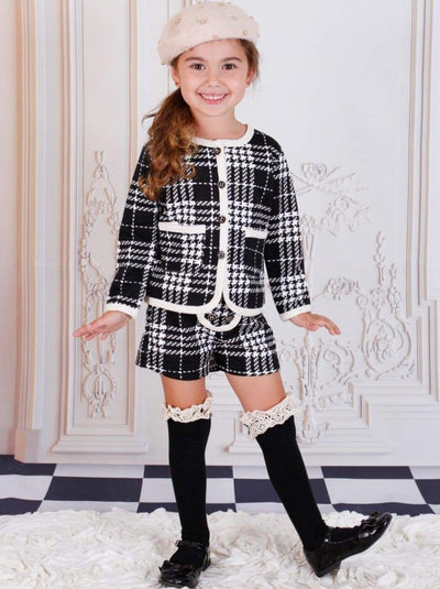 Girls Black Fall Plaid Cardigan & Shorts Set - Black / 2T - Girls Fall Dressy Set