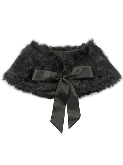 Girls Black Faux Fur Princess Cloak/Bolero - Girls Halloween Costume