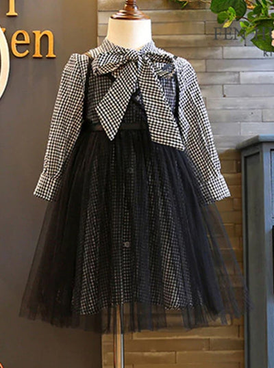 Girls Black Gingham Preppy Dress with Mesh Dress Set - Black / 2T - Girls Fall Dressy Set