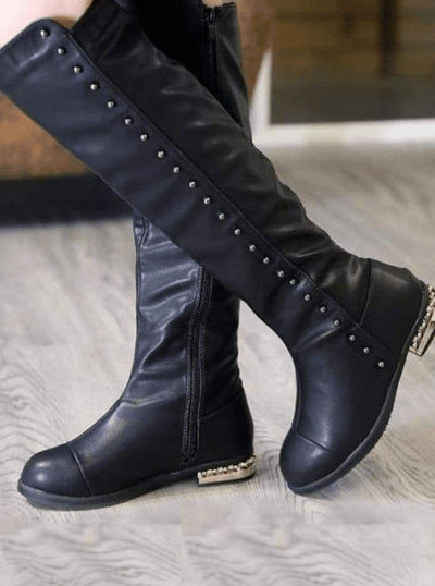 Girls Black Gold Studded Knee High Boots - Girls Boots